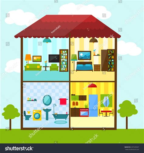 living room bedroom bathroom kitchen crosssection house flat style illustration bathroom stock