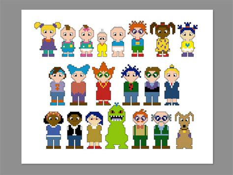 rug rats names rugrats pixel character cross stitch pdf pattern only from cheekysharklabs on etsy studio