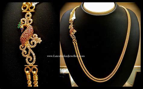 chain designs with peacock design mugappu gold chain