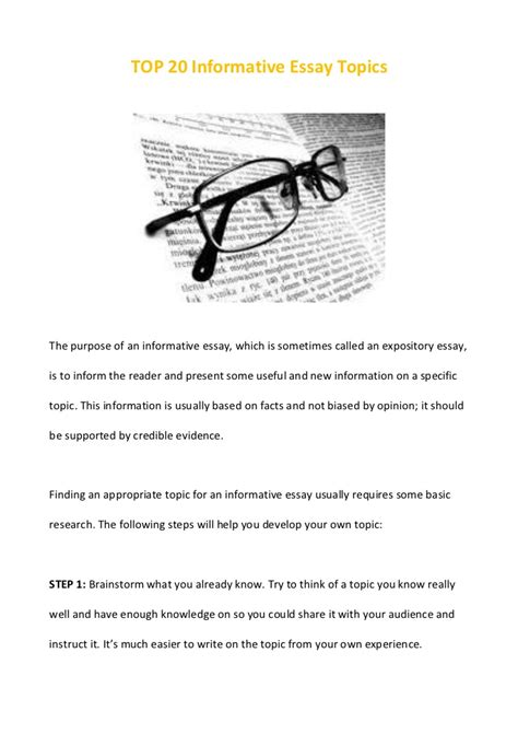 Informative And Surprising Essay Topics by Top 20 Informative Essay Topics
