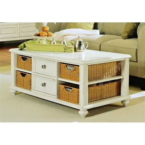 White Coffee Table With Baskets American Drew Camden Antique Rectangular White Coffee Table With Wicker Basket Storage