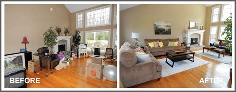 living room staging before and after