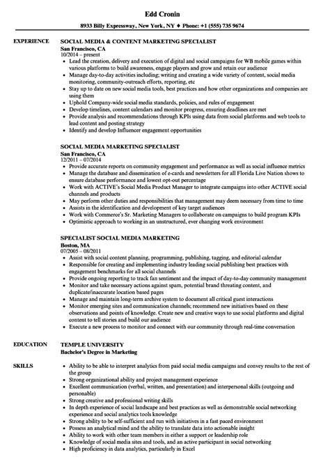 Social Media Marketing Resume by Social Media Marketing Specialist Resume Sles Velvet