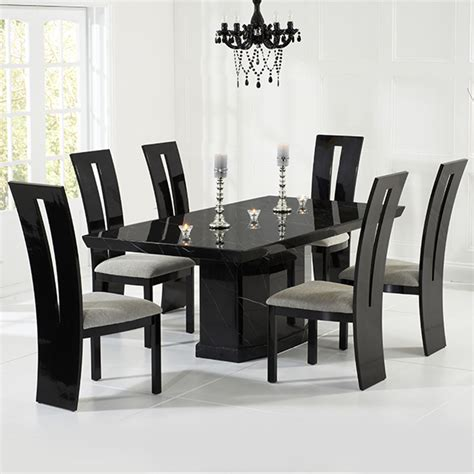 Kamila Black Marble Dining Table With 6 Chairs Robson 6 Black Dining Chairs