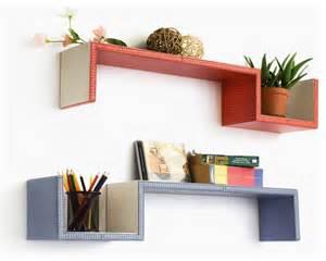 purple floating shelves grayish purple s shaped leather wall shelf