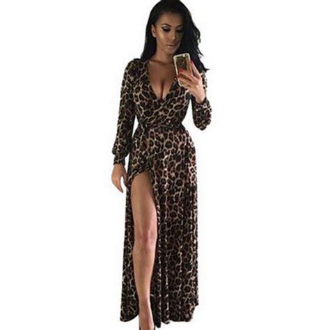 Maxi Dress Trendy 2017 Maxi Leopard 2017 new dress european american maxi leopard vestido sleeved split dress maxi