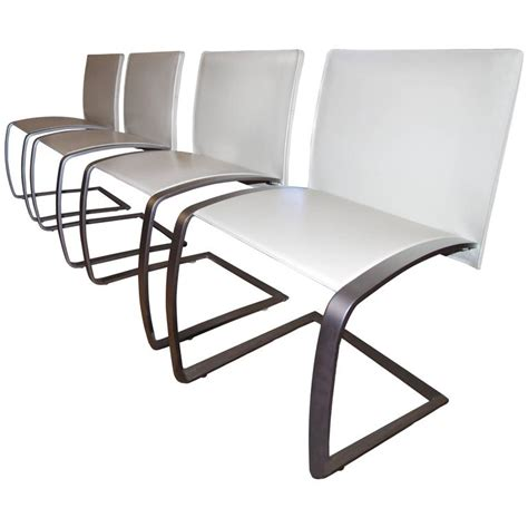 Italian Leather Dining Chairs Modern Italian Modern Dining Chairs Set Of 4 Leather And Stainless Steel Chairs At 1stdibs