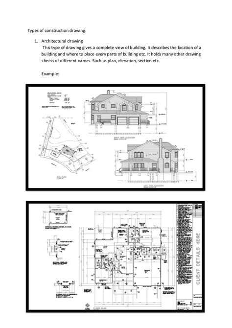 types of architectural plans types of drawing