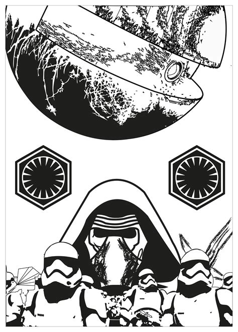 kylo ren and stormtrooper coloring page stars wars fanart movies coloring pages for adults