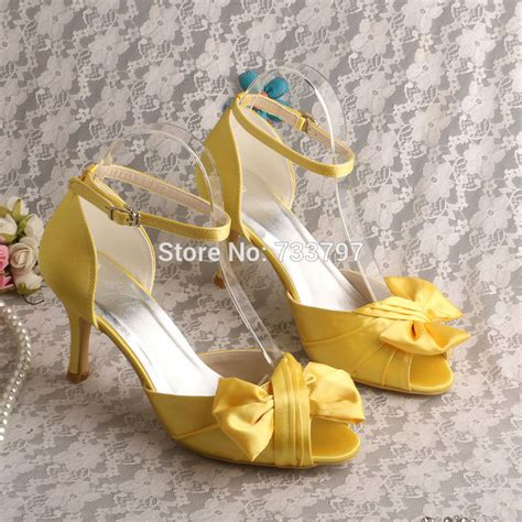 yellow sandals for wedding wedopus mw527 ankle bow yellow satin wedding