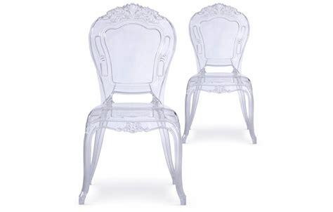 chaise transparente style baroque lot de 2