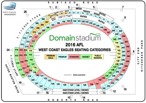 subiaco oval seating map seating maps 187 domain stadium
