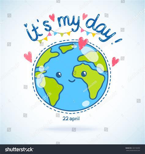 cute cartoon earth globe postcard earth stock vektorgrafik