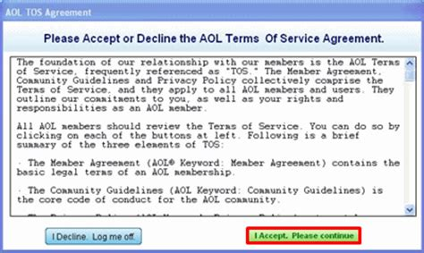 Term Of Service by Account Management Aol Terms Of Service