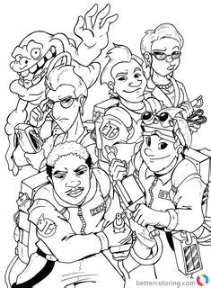 Ghostbusters and Ecto-1 coloring page | Coloriage | Coloriage