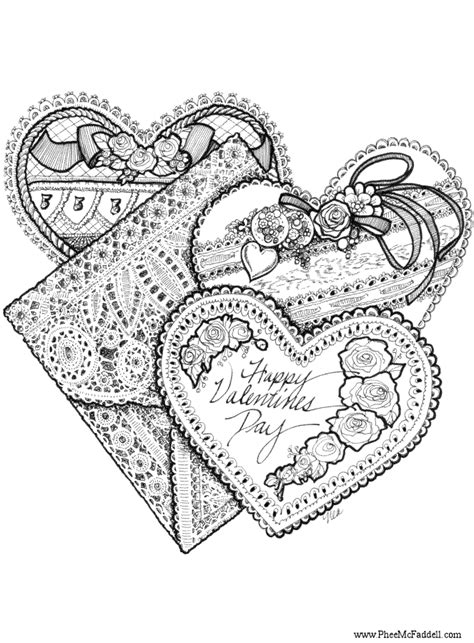 coloring pages for adults s day three valentines www pheemcfaddell