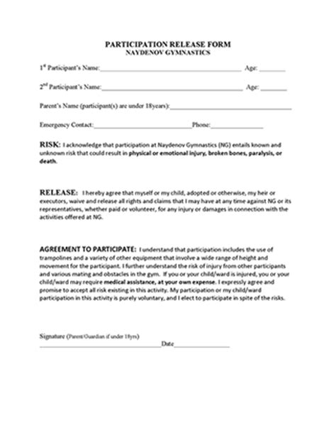 Participation Release Form Free Fitness Waiver Template