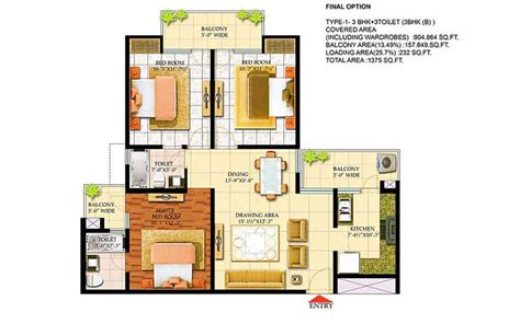 3 bhk apartment floor plan bharat city by bharat city ghaziabad developer 1 2 3