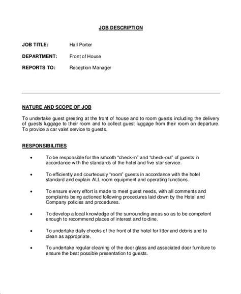 porter description sle porter description 10 exles in word pdf