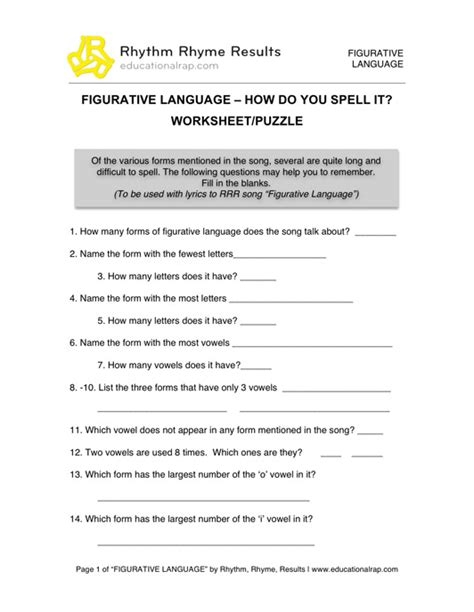 English Language Arts - Educational Songs, Free Worksheets
