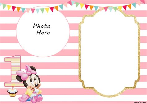 free printable minnie mouse 1st invitation templates