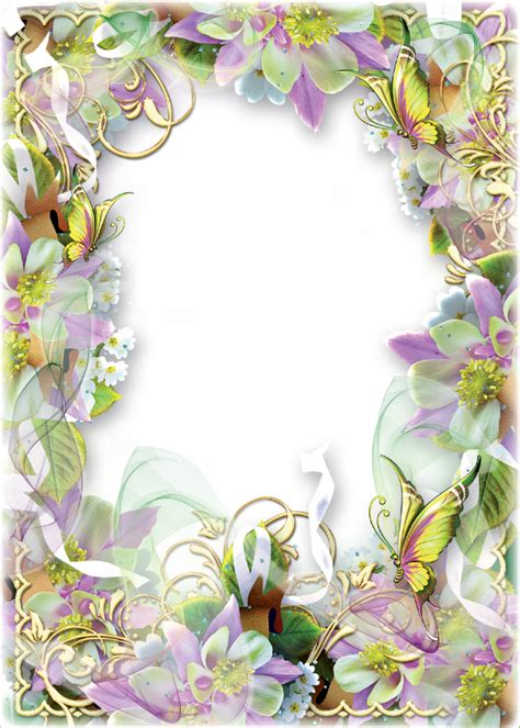 photo frame spring flowers and butterflies png 914 215 1280