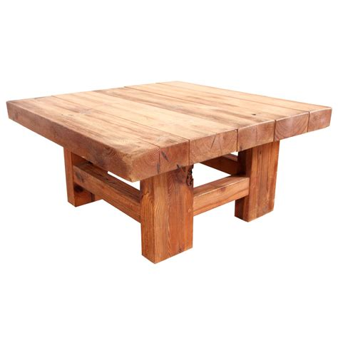 Square Wooden Coffee Table Rustic Wood Block Square Coffee Table At 1stdibs