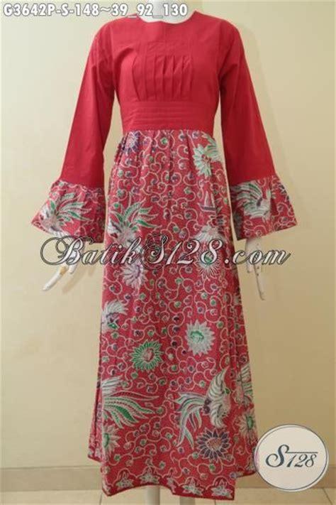 Gamis Batik Primis Mawar Merah gamis batik terbaru buatan hadir dengan warna merah cerah berpadu kombinasi kain polos dan