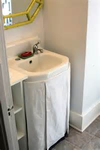 bathroom sink skirts a no sew sink skirt revisited