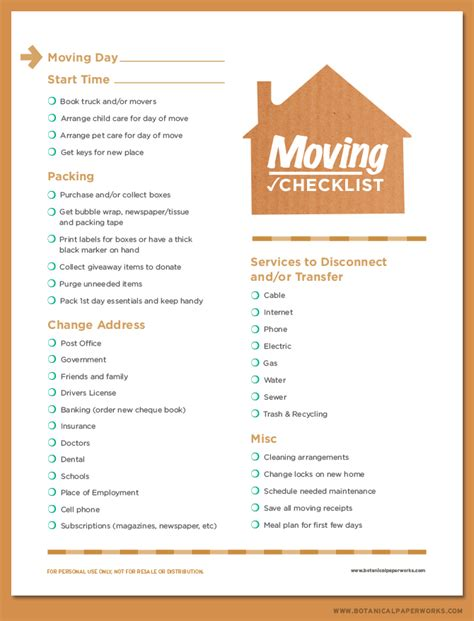 house beautiful change of address free printable moving checklist botanical