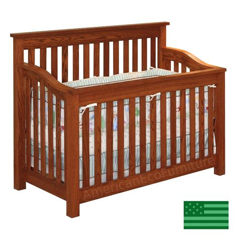 Amish Maddon 4 In 1 Convertible Baby Crib Solid Wood Amish Baby Crib