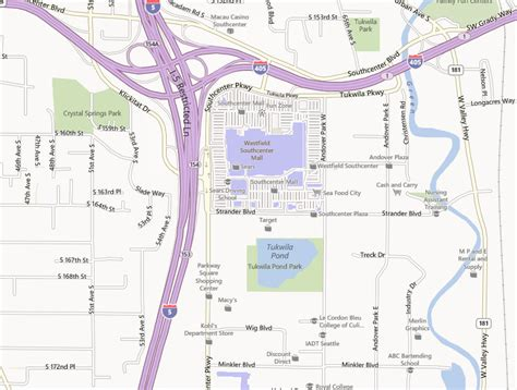 southcenter mall map tukwila pond park parks recreation