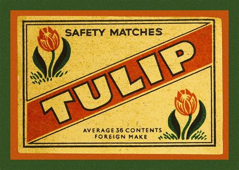 Tulip Safety Pins tulip safety matches matchbox label tulip and safety