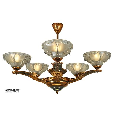 Light Fixture Chandelier Antique Deco Chandelier Ezan Icicle Light Fixture Copper Ant 747 For Sale