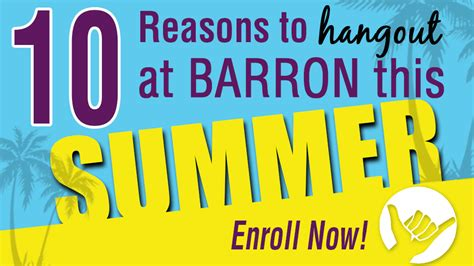 Top 10 Reasons To A This Summer by 10 Reasons To Hang Out At Barron Gymnastics This Summer