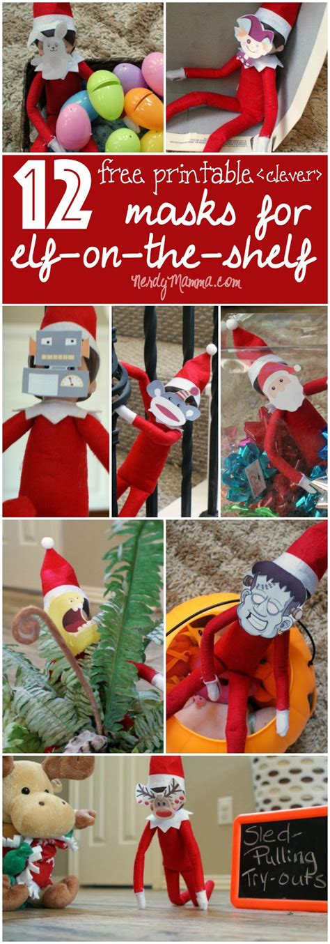 printable elf on shelf mask free printable elf on the shelf masks