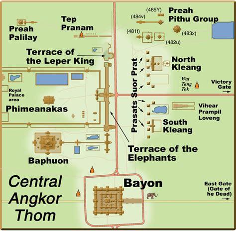 angkor archaeological park central angkor thom area map