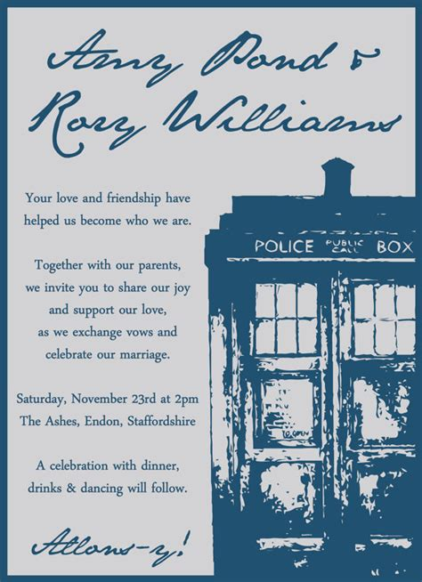 Doctor Who Wedding Invitation Tardis Invitation Template