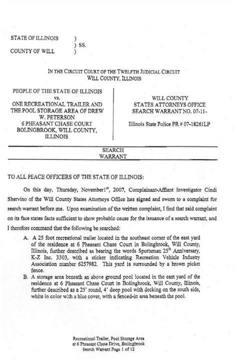 State Of Illinois Warrant Search Stacy Peterson Search Warrant110107 Htm
