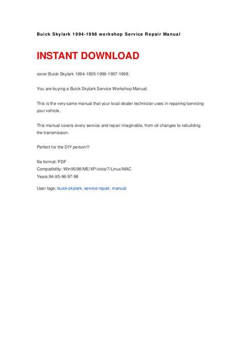 how to download repair manuals 1994 buick coachbuilder instrument cluster buick skylark 1994 1998 workshop service repair manual