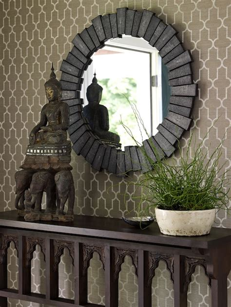foyer zen quatrefoil wallpaper asian entrance foyer