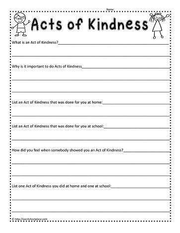 act worksheets worksheets and acts of kindness on