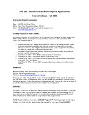 Csis 115 Syllabus Csis 115 Introduction To