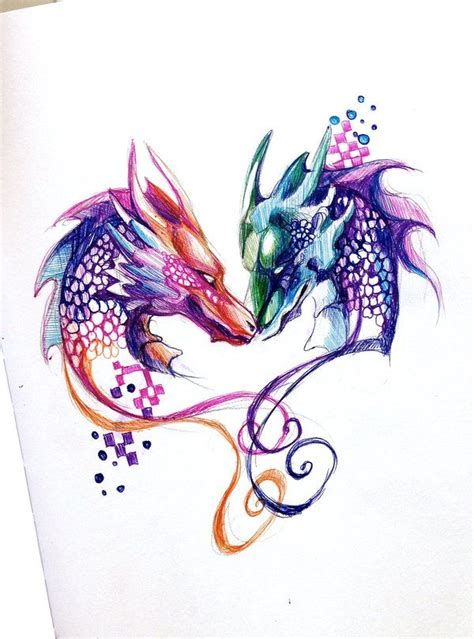 dragon tattoo for couples two dragons pen design by lucky978 deviantart com on
