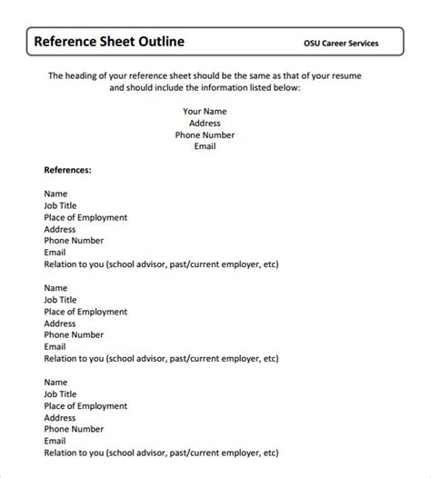 reference templates reference sheet template 9 free documents in pdf