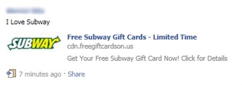 Subway Survey 5 Gift Card - scam alert free subway gift cards limited time