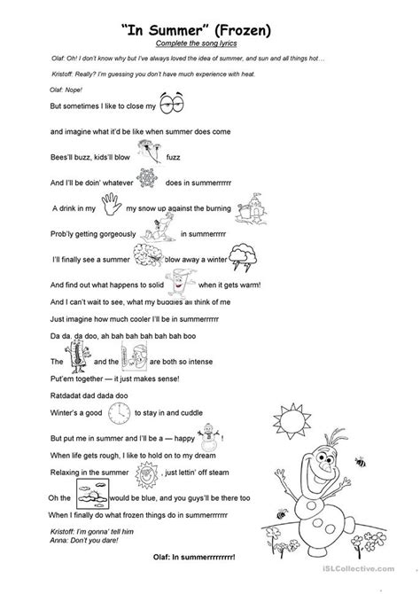 printable lyrics in summer frozen in summer frozen film worksheet free esl printable