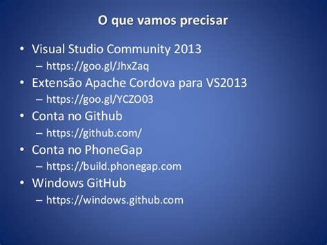 github tutorial visual studio 2013 tutorial para desenvolvimento mobile usando html css e