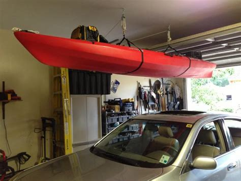 Garage Storage For Kayaks Kayak Ceiling Storage Aka Finally Got Both Cars In The