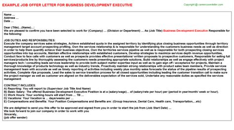 Work Experience Certificate For Business Development Executive business development executive offer letter
